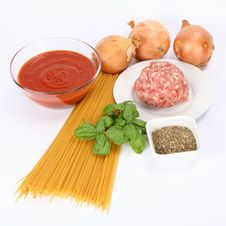 Spaghetti Bolognese Ingredients Stock Photos