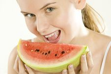Free Woman With Melon Royalty Free Stock Photography - 14124207