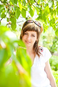 Beautiful Girl Between The Trees Stock Images