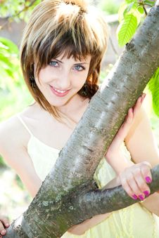 Beautiful Girl Between The Trees Stock Photos