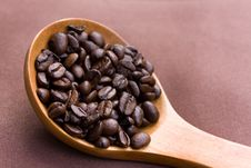 Fresh Roasted,coffee Beans In The Spoon,close Up Royalty Free Stock Photo