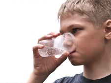 Water.Teenager Drinks From Can. Stock Images
