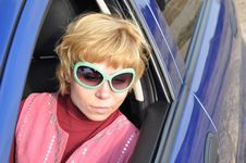 Car Series, Blonde And Green Sunglasses Stock Photos