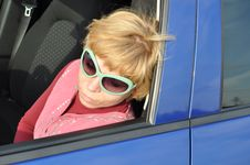 Free Car Series, The Blonde In The Green Sunglasses Stock Images - 14125954