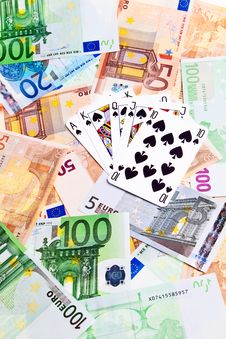 Spades Cards And Euro Banknotes. Stock Images