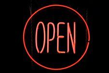 Free Circle OPEN Neon Sign Stock Photos - 14129163