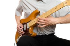 Free Man Plays Electric Guitar Stock Images - 14129614