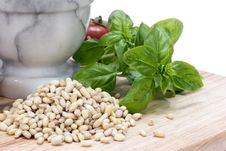 Free Pine Nuts (pignolias) & Basil Royalty Free Stock Photography - 14129617