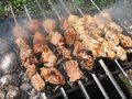 Free Meat Skewers And Baked Potatoes In Foil Stock Images - 14132344