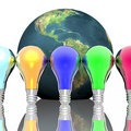 Free Red, Blue And Green Lightbulbs Stock Image - 14134761