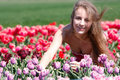 Free Happy Girl In Red And Purple Tulips Royalty Free Stock Photo - 14136245