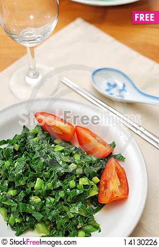 Free Chinese Style Vegetables And Tomatoes Royalty Free Stock Image - 14130226