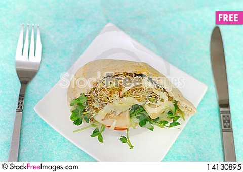 Free Salad Sandwich On Plate Royalty Free Stock Photo - 14130895