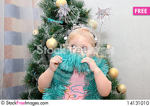 Free Pretty Little Girl And Christmas-tree. Stock Photo - 14131010