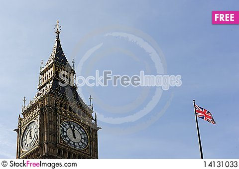 Free Big Ben And England Flag Stock Photos - 14131033