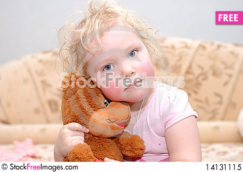 Free Pretty Curly Blond Girl With Toy Bear. Royalty Free Stock Photo - 14131115