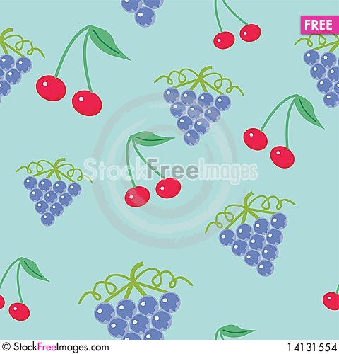 Free Background With Cherry And Grape Stock Images - 14131554