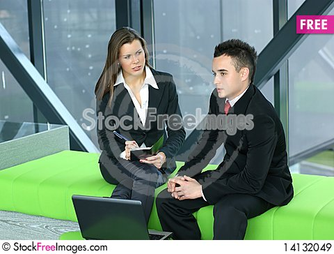Free Young Business Colleagues Working Together Royalty Free Stock Images - 14132049