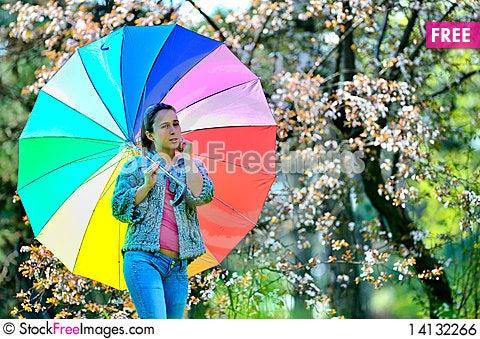 Free Beautiful Woman With Umbrella Royalty Free Stock Image - 14132266