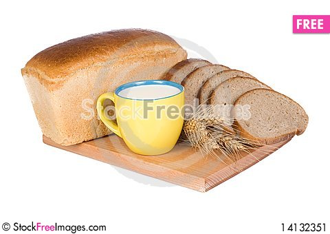 Free Bread And Cup With Milk Stock Image - 14132351