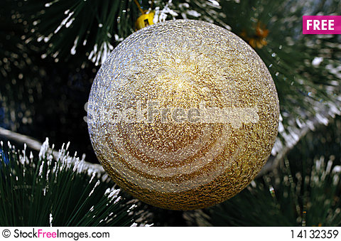 Free Christmas-tree And Golden Decoration (ball). Royalty Free Stock Images - 14132359