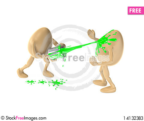 Free Two Eggs Playing With Green Paint Stock Photos - 14132383