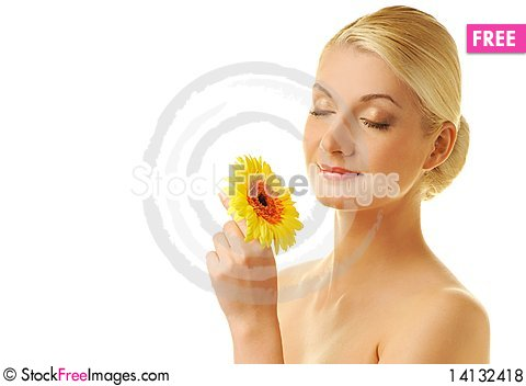 Free Beautiful Woman With Gerber Flower Royalty Free Stock Photos - 14132418