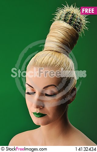 Free Woman With Cactus In Her Hair Stock Images - 14132434