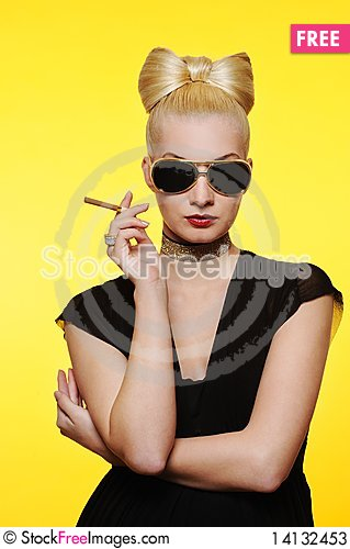 Free Charming Lady With A Cigarette Stock Photos - 14132453