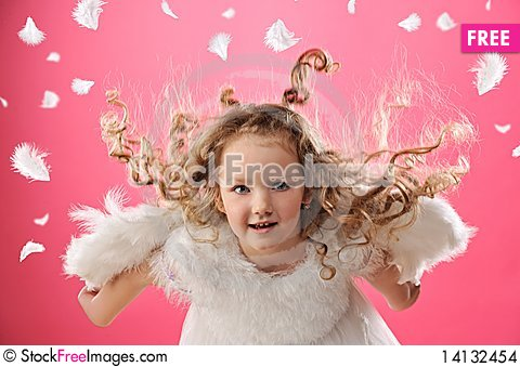 Free Beautiful Little Angel Girl Stock Images - 14132454