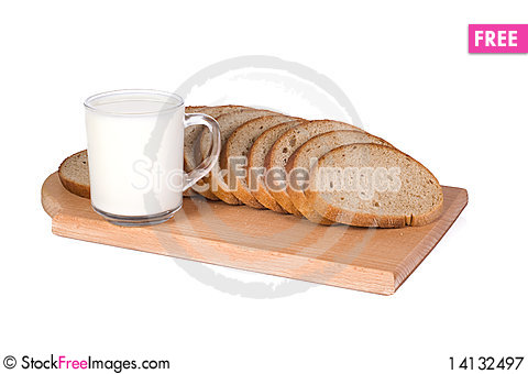 Free Milk And Bread On White Royalty Free Stock Photography - 14132497