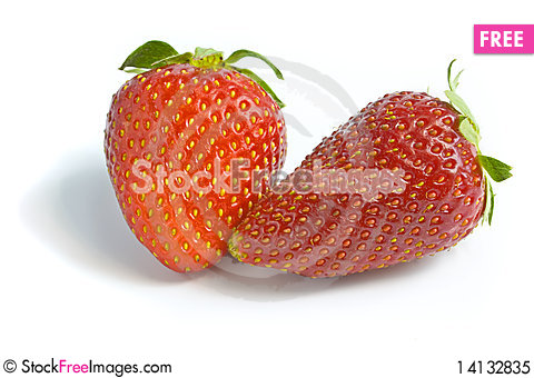 Free Two Ripe And Appetizing Strawberries. Royalty Free Stock Photo - 14132835