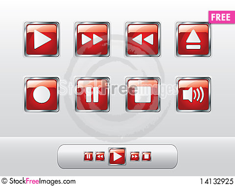Free Glossy Red Music Buttons Royalty Free Stock Photo - 14132925