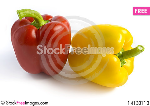 Free Red And Yellow Pepper On A White Background Stock Photos - 14133113