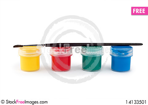 Gouache paint cans and brush Stock Photo