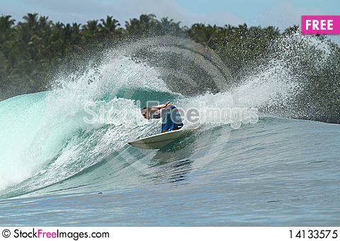 Free Surfer On Wave, Mentawai Islands, Indonesia Royalty Free Stock Photo - 14133575