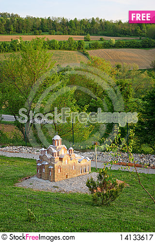 Free Serbian Orthodox Monastery Gracanica Miniature Royalty Free Stock Photography - 14133617