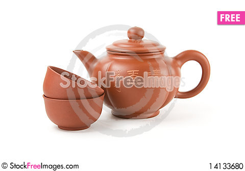 Free Chinese Teapot And Two Cups Stock Photo - 14133680