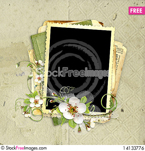 Free Spring Frame With Apple Tree Flowers Royalty Free Stock Image - 14133776