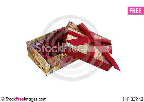 Free Open Gift Box With Filler And Red Ribbon Stock Photos - 14133943