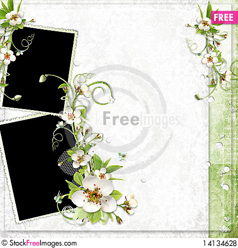 Free Spring Frame With Apple Tree Flowers Royalty Free Stock Photos - 14134628
