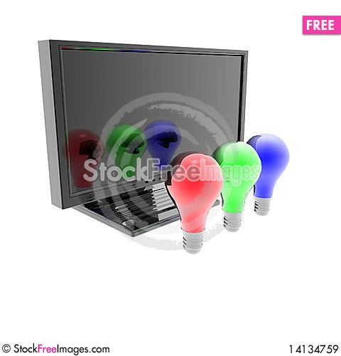 Free Red, Blue And Green Lightbulbs Royalty Free Stock Images - 14134759