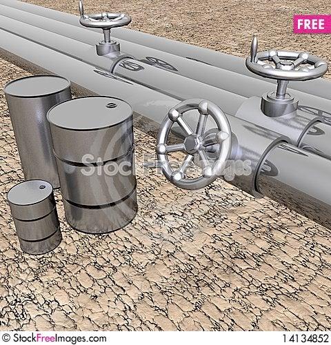 Bright metal tubes with crank valve Stock Photo