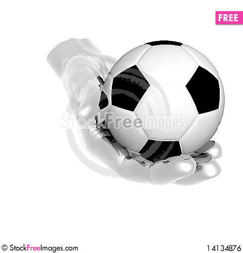 Free 3d Soccer Ball In Hands Isolated On Royalty Free Stock Image - 14134876