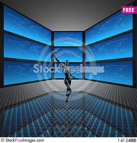 Free Video Wall With Screens Royalty Free Stock Photos - 14134888
