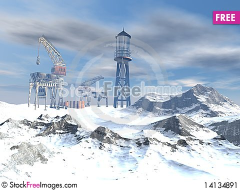 Free Drilling Platform In Winter Stock Image - 14134891