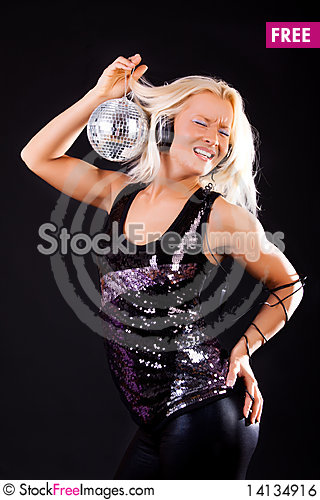 Free Cute Dancer At Disco Royalty Free Stock Image - 14134916