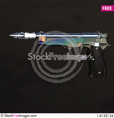 Free Gun With Flying Bullet Stock Images - 14135134