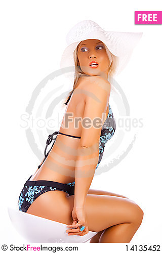 Free Sexy Woman Wearing Bikini And Hat Stock Photography - 14135452