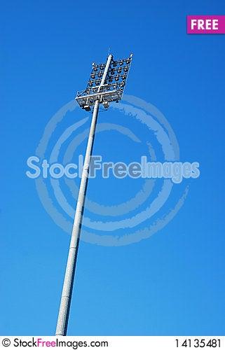 Stadium lighting tower Stock Photo